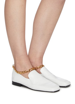 Figure View - Click To Enlarge - BY FAR - Nick ankle chain square toe loafers