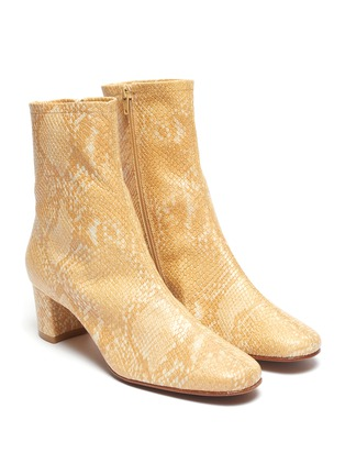 Detail View - Click To Enlarge - BY FAR - Sofia snake embossed leather ankle boots