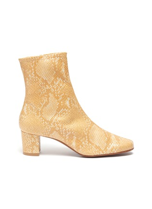 Main View - Click To Enlarge - BY FAR - Sofia snake embossed leather ankle boots