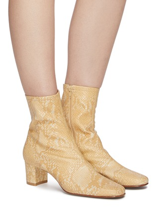 Figure View - Click To Enlarge - BY FAR - Sofia snake embossed leather ankle boots