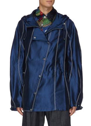Main View - Click To Enlarge - ANGEL CHEN - Diagonal snap closure satin hood jacket