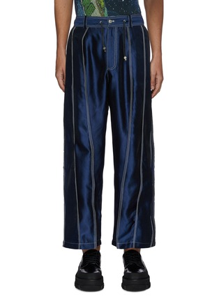 Main View - Click To Enlarge - ANGEL CHEN - Contrast stitch panel fold pants