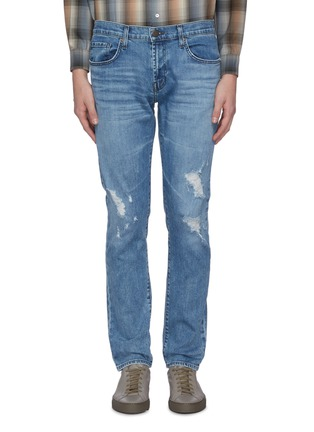 Main View - Click To Enlarge - J BRAND - 'Tyler' medium wash ripped knee jeans