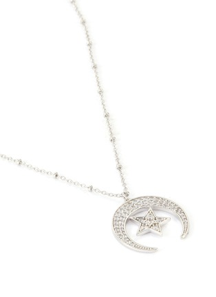 Detail View - Click To Enlarge - CZ BY KENNETH JAY LANE - Moon and star cubic zirconia pendant necklace