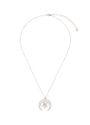 Main View - Click To Enlarge - CZ BY KENNETH JAY LANE - Moon and star cubic zirconia pendant necklace