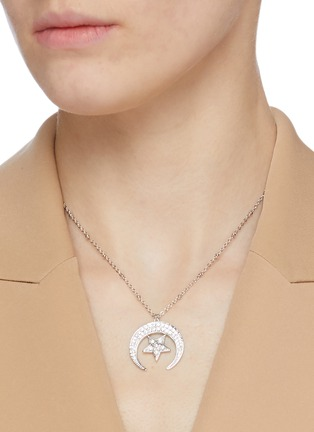 Figure View - Click To Enlarge - CZ BY KENNETH JAY LANE - Moon and star cubic zirconia pendant necklace