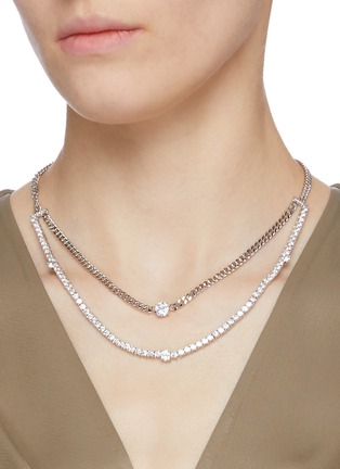 Figure View - Click To Enlarge - CZ BY KENNETH JAY LANE - Cubic zirconia layered link chain necklace