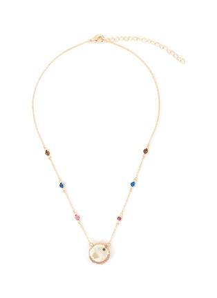 Main View - Click To Enlarge - CZ BY KENNETH JAY LANE - Cubic zirconia mother of pearl station necklace