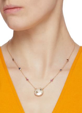 Figure View - Click To Enlarge - CZ BY KENNETH JAY LANE - Cubic zirconia mother of pearl station necklace