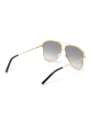 Figure View - Click To Enlarge - MATTHEW WILLIAMSON - Chain element irregular metal frame aviator sunglasses