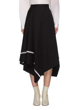 Main View - Click To Enlarge - PORTSPURE - Logo tape trim asymmetric handkerchief skirt