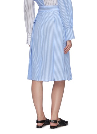 Back View - Click To Enlarge - PORTSPURE - Striped waist tie midi skirt