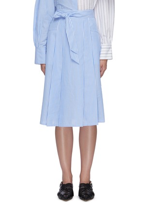 Main View - Click To Enlarge - PORTSPURE - Striped waist tie midi skirt