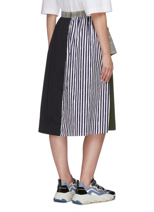 Back View - Click To Enlarge - PORTSPURE - Mixed media panel A-line midi skirt