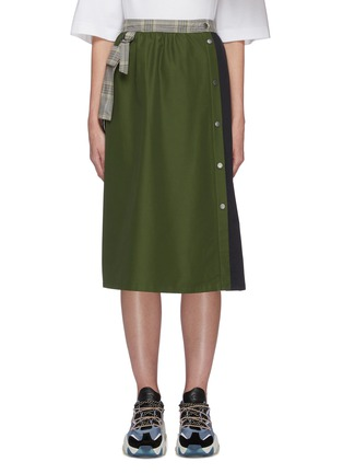 Main View - Click To Enlarge - PORTSPURE - Mixed media panel A-line midi skirt