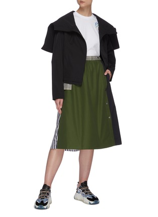 Figure View - Click To Enlarge - PORTSPURE - Mixed media panel A-line midi skirt
