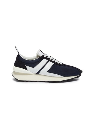Main View - Click To Enlarge - LANVIN - Suede panel running sneakers
