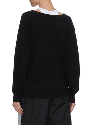 Back View - Click To Enlarge - ALEXANDERWANG.T - Bi-layer wool knit sweater