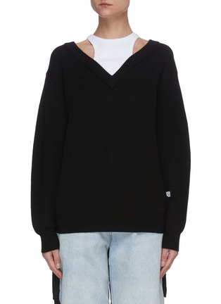 Main View - Click To Enlarge - ALEXANDERWANG.T - Bi-layer wool knit sweater