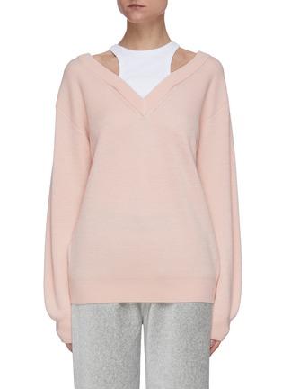 Main View - Click To Enlarge - ALEXANDERWANG.T - Bi-layer wool knit sweater