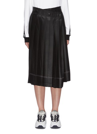 Main View - Click To Enlarge - ACNE STUDIOS - Wrap front pleated satin midi skirt