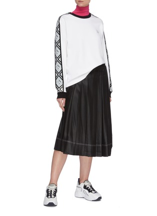 Figure View - Click To Enlarge - ACNE STUDIOS - Wrap front pleated satin midi skirt