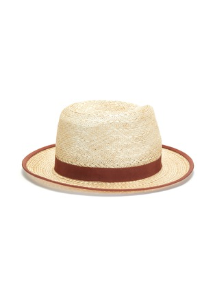 Main View - Click To Enlarge - MOSSANT - Ribbon trimmed linen Panama hat