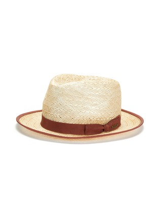 Figure View - Click To Enlarge - MOSSANT - Ribbon trimmed linen Panama hat