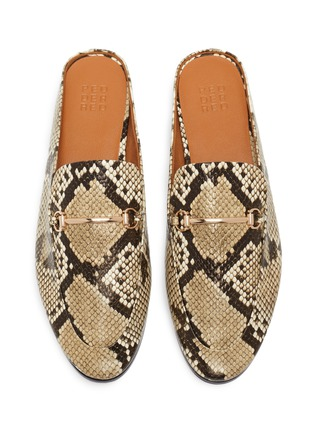 Detail View - Click To Enlarge - PEDDER RED - Ruth horsebit snake embossed leather slip on loafers