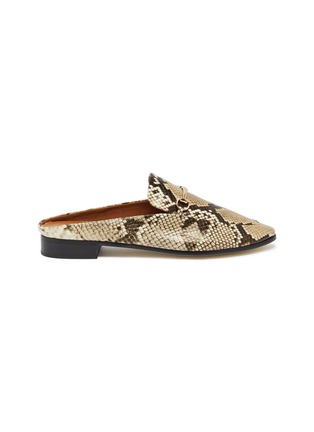 Main View - Click To Enlarge - PEDDER RED - Ruth horsebit snake embossed leather slip on loafers