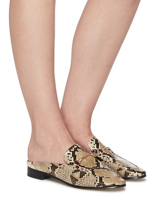 Figure View - Click To Enlarge - PEDDER RED - Ruth horsebit snake embossed leather slip on loafers