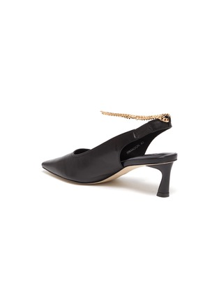 - PEDDER RED - Brandon metallic ankle chain slingback leather pumps