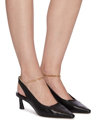 Figure View - Click To Enlarge - PEDDER RED - Brandon metallic ankle chain slingback leather pumps