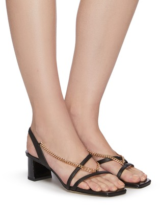 Figure View - Click To Enlarge - PEDDER RED - Ava chain detail strappy slingback heel leather sandals