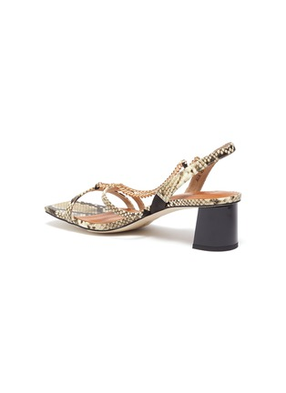 - PEDDER RED - Ava chain detail strappy slingback heel snake embossed leather sandals