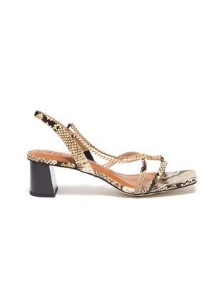 Main View - Click To Enlarge - PEDDER RED - Ava chain detail strappy slingback heel snake embossed leather sandals