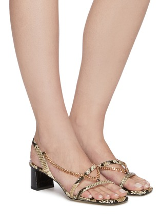Figure View - Click To Enlarge - PEDDER RED - Ava chain detail strappy slingback heel snake embossed leather sandals