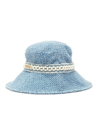 Figure View - Click To Enlarge - LAURENCE & CHICO - Pearl embellished denim bucket hat