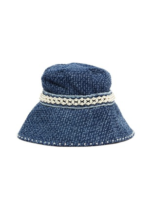 Main View - Click To Enlarge - LAURENCE & CHICO - Pearl embellished frayed denim bucket hat