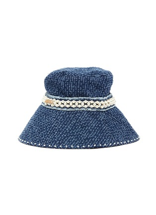 Figure View - Click To Enlarge - LAURENCE & CHICO - Pearl embellished frayed denim bucket hat