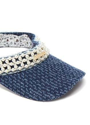 Detail View - Click To Enlarge - LAURENCE & CHICO - Pearl embellished denim visor
