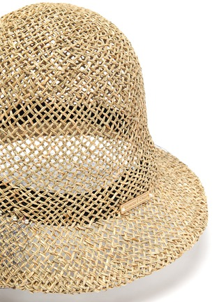 Detail View - Click To Enlarge - LAURENCE & CHICO - Veil overlay pearl embellished straw bucket hat