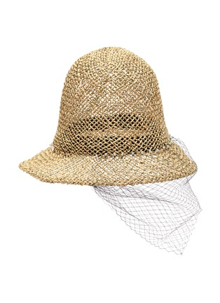 Figure View - Click To Enlarge - LAURENCE & CHICO - Veil overlay pearl embellished straw bucket hat