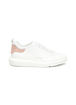Main View - Click To Enlarge - PEDDER RED - Megan contrast tab chunky outsole leather sneakers