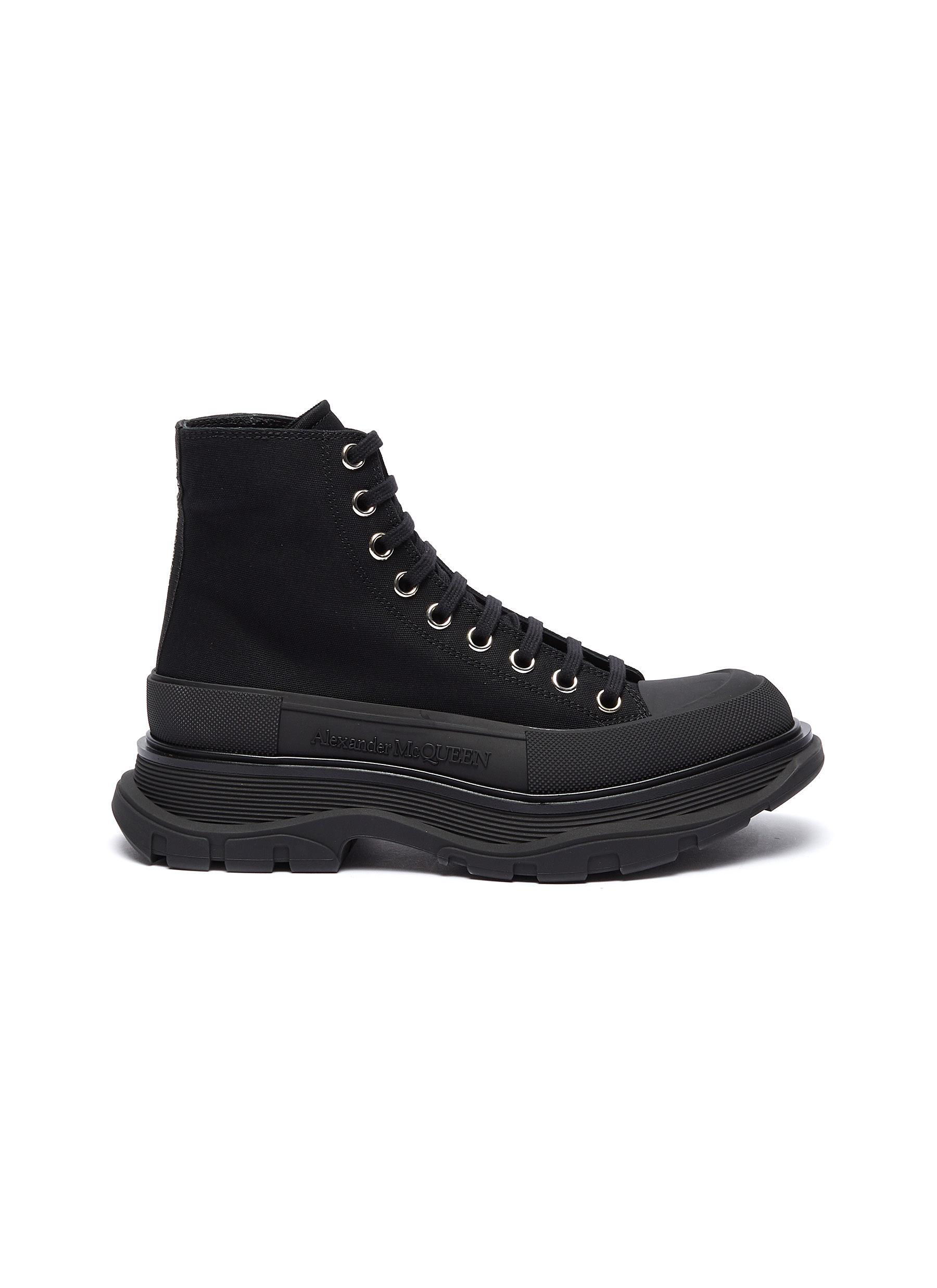 Tread' contrast sole canvas sneakers