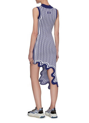 Back View - Click To Enlarge - PH5 - Boston asymmetric houndstooth jagged hem sleeveless midi dress
