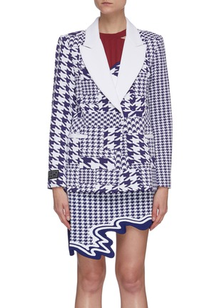 Main View - Click To Enlarge - PH5 - Baker peak lapel houndstooth knit blazer