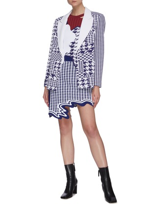 Figure View - Click To Enlarge - PH5 - Baker peak lapel houndstooth knit blazer