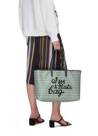 Figure View - Click To Enlarge - ANYA HINDMARCH - I Am A Plastic Bag slogan embroidered tote bag