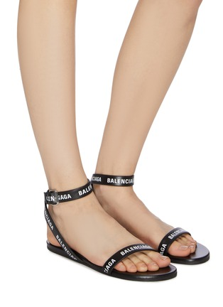 Figure View - Click To Enlarge - BALENCIAGA - Logo print strappy leather sandals